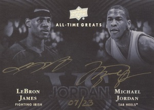 2013 Upper Deck All-Time Greats Jordan Vs. Signatures Michael Jordan, LeBron James
