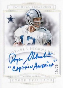 2014 National Treasures Notable Nicknames Rogers Staubach