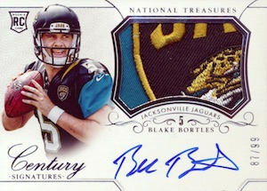 2014 National Treasures Rookie Century Materials Signatures Blake Bortles RC #286