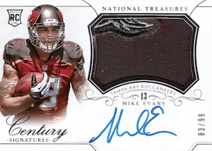 2014 National Treasures Rookie Century Materials Signatures Mike Evans RC #303
