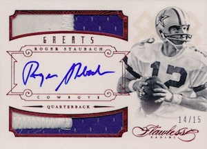 2014 Panini Flawless Greats Autographed Relic Roger Staubach