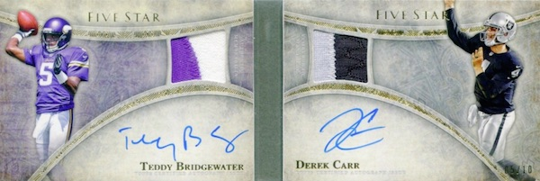 2014 Topps Five Star Football Dual Signature Patch Book Carr Bridgewater
