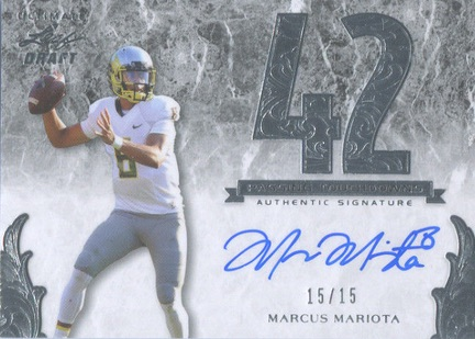 2015 Leaf Ultimate Draft Football Numbers Autographs Marcus Mariota