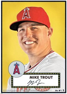 2015 Topps Tribute 52 Mike Trout Gold Poster