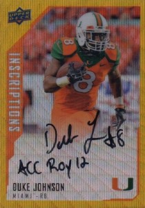2015 Upper Deck Inscriptions Gold Autograph Duke Johnson