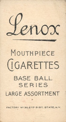 1909-11 T206 White Border Baseball Lenox Back