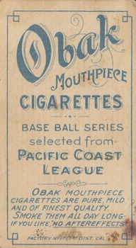 1909 T212 Obak Baseball Mundorf back