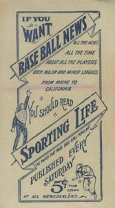 1910-11 M116 Sporting Life Baseball Back Type 2
