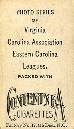 1910 T209 Contentnea Photo Series Baseball card back