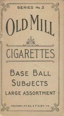 1910 T210 Old Mill Baseball Cards 2