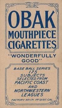 1910 T212 Obak Baseball Schmutz back