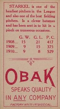 1911 T212 Obak Baseball Starkel back