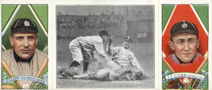 1912 T202 Hassan Triple Folders Baseball A Desperate Slide for Third Charley O'Leary Ty Cobb