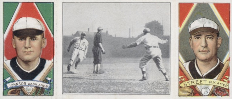 1912 T202 Hassan Triple Folders Baseball Birmingham Gets to Third Walter Johnson Gabby Street