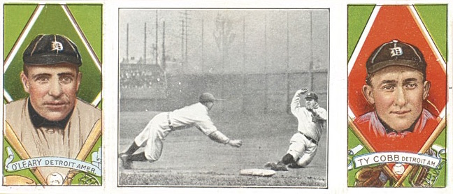 1912 T202 Hassan Triple Folders Baseball Fast Work at Third Charley O'Leary Ty Cobb