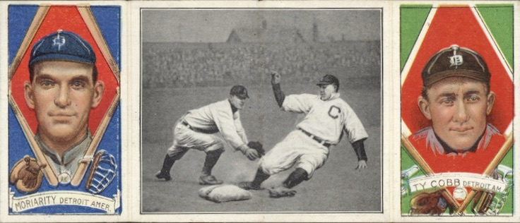 1912 T202 Hassan Triple Folders Baseball Good Play at Third George Moriarty Ty Cobb
