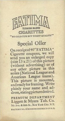1913 T200 Fatima Baseball Card back