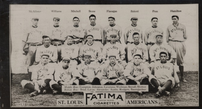 1913 T200 Fatima Baseball St. Louis Browns Americans
