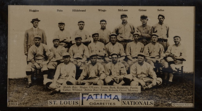 1913 T200 Fatima Baseball St. Louis Cardinals Nationals