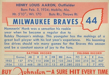 1955 Johnston Cookies Hank Aaron Reverse
