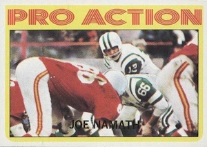 1972 Topps Joe Namath #343 Pro Action