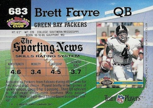 1992 Stadium Club Football High Number Brett Favre back