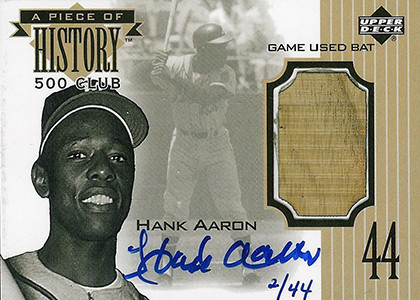 1999 Upper Deck Piece of History 500 Club Autograph Hank Aaron