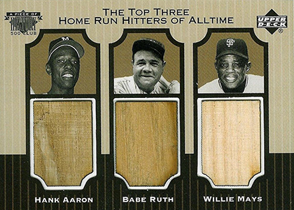 1999 Upper Deck Piece of History 500 Club Hank Aaron Babe Ruth Willie Mays
