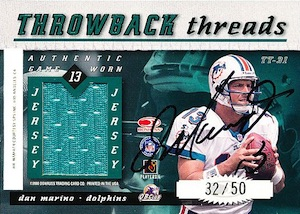 2000 Donruss Elite Throwback Threads Dual Autograph Joe Namath, Dan Marino back