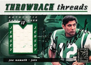 2000 Donruss Elite Throwback Threads Dual Autograph Joe Namath, Dan Marino front