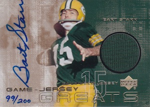 2000 Upper Deck Game Jersey Greats Autographs Bart Starr