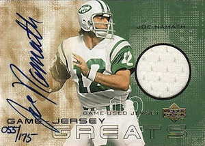 2000 Upper Deck Game Jersey Greats Autographs Joe Namath