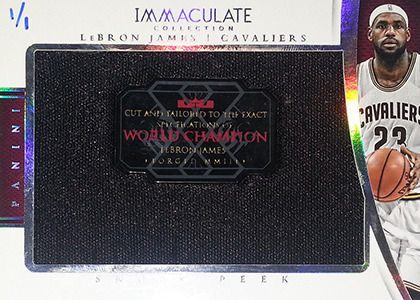 2014-15 Panini Immaculate Sneak Peek LeBron James Cut and Tailored