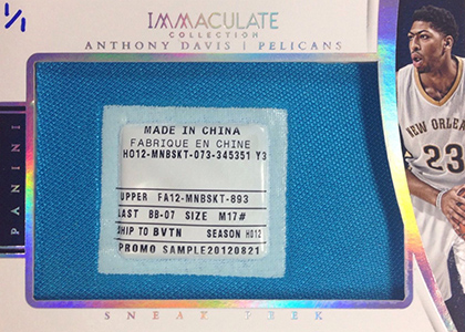 2014-15 Panini Immaculate Sneak Peek SP-AD Anthony Davis Tag