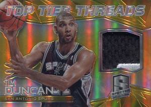 2014-15 Panini Spectra Basketball Top Tier Threads Gold Prizm Tim Duncan