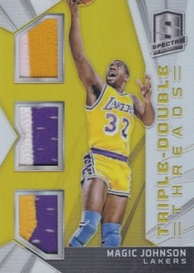 2014-15 Panini Spectra Basketball Triple-Double Threads Gold Prizm Magic Johnson