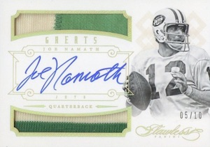2014 Panini Flawless Greats Autographed Jersey Joe Namath