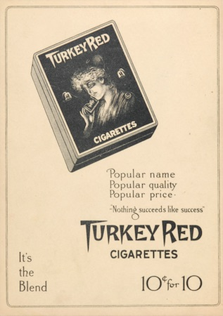 1910-11 T3 Turkey Red Baseball Cabinet Artistic Ad Back