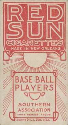 1910 T211 Red Sun Baseball Hunter back