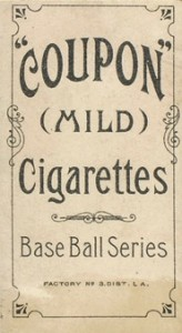 1910 T213 Coupon Baseball Type 1 Ty Cobb Back