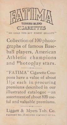 1914 T222 Fatima Baseball back