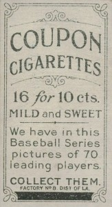 1919 T213 Factory 8 Overprint Back