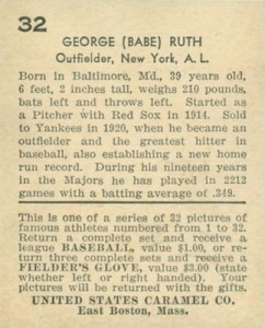 1933 U.S. Caramel Baseball Cards 2