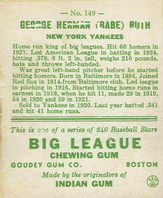 1933 Goudey Baseball Checklist Set Info Key Cards Buying
