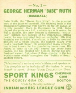 1933 Sport Kings Babe Ruth back