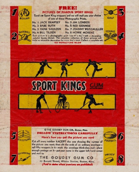 1933 Sport Kings wax wrapper pack