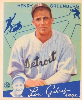 1934 Goudey Baseball Henry Hank Greenberg