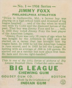 1934 Goudey Baseball Jimmie Jimmy Foxx back
