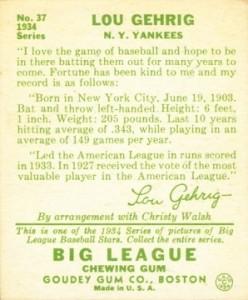1934 Goudey Baseball Lou Gehrig 37 back