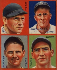 1935 Goudey Baseball Pete Fox Hank Greenberg Gee Walker Schoolboy Rowe
